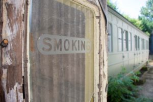 Smoking carriage window