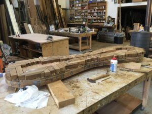 the making of the shoe bench for studio swine